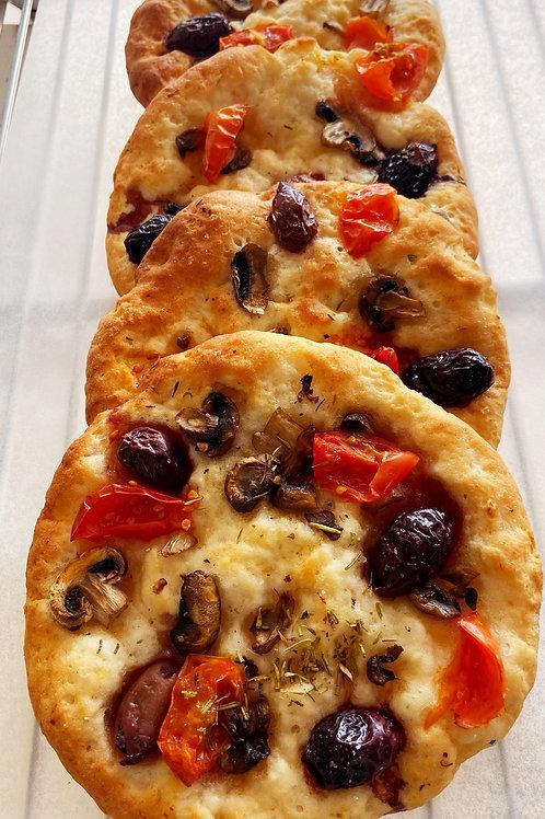 tomato, olive and mushroom focaccia - small