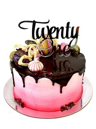 21 themed drip cake