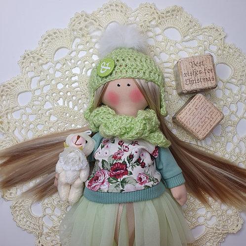Lalka zimowa z czapką, szalikiem i miś;)
