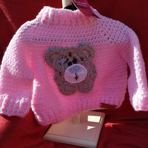 Pink baby arran teddy jumper