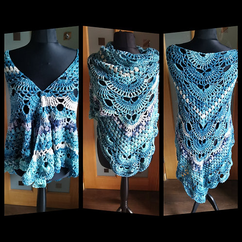 Gradient blue arran shawl