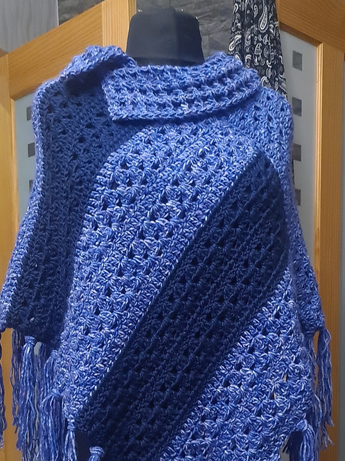 Blue and navy collared poncho