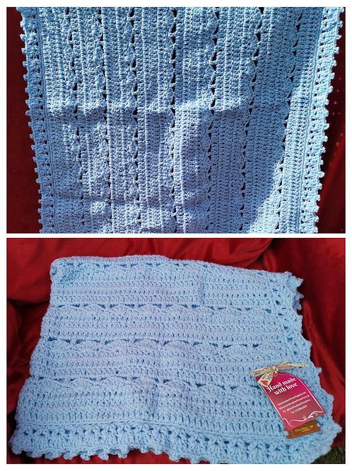 Light blue baby arran blanket
