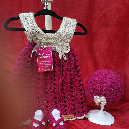 Burgundy and gold bow dress set