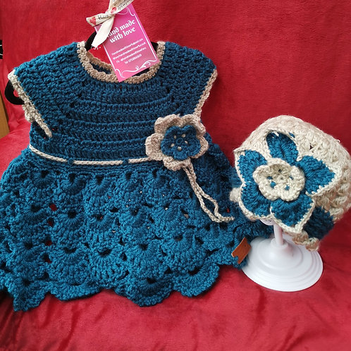 Teal and gold flower dress and hat set