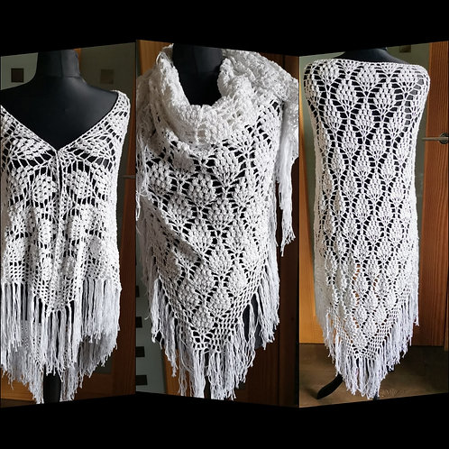 Bamboo yarn pineapple full length shawl