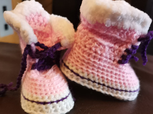 pink and purple trim baby padders