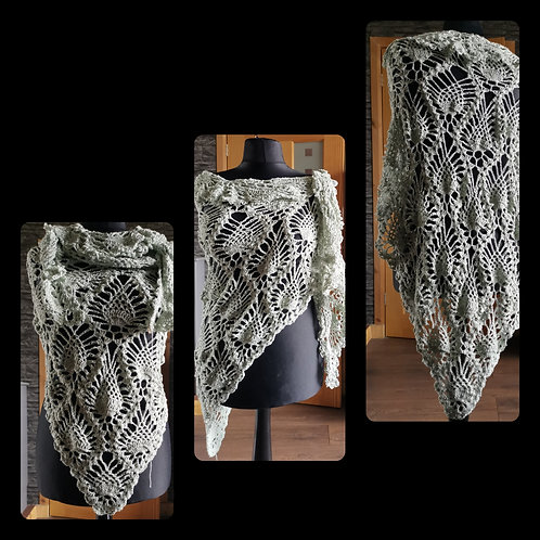 Light sage green pineapple shawl