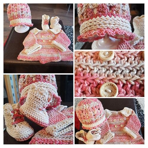 0-3 months cotton Pink jacket set