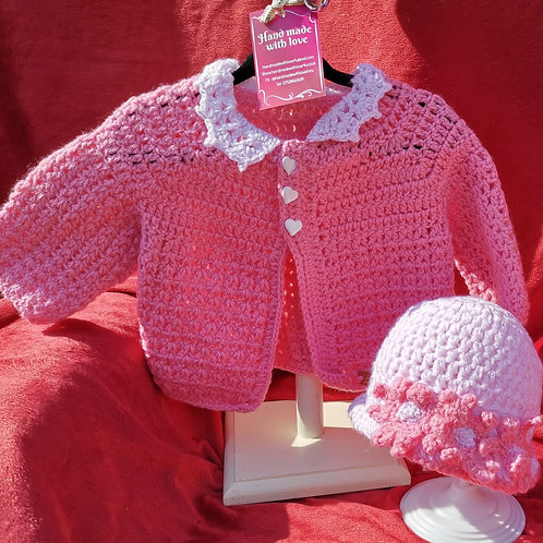 Pink baby cardigan and hat set