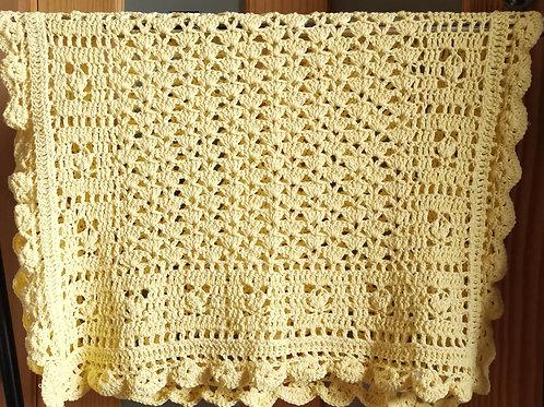 100% cotton lemon baby shawl