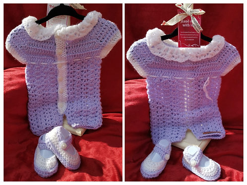 Lilac and white romper set with padders