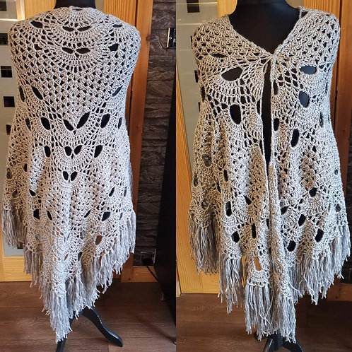 silver grey granny virus shawl