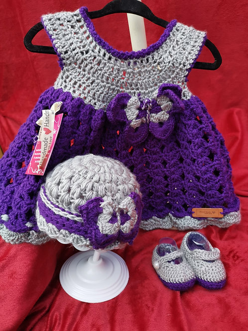 Silver and purple butterfly dress set