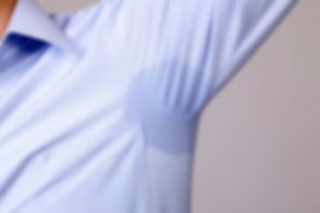 Man with hyperhidrosis sweating very bad