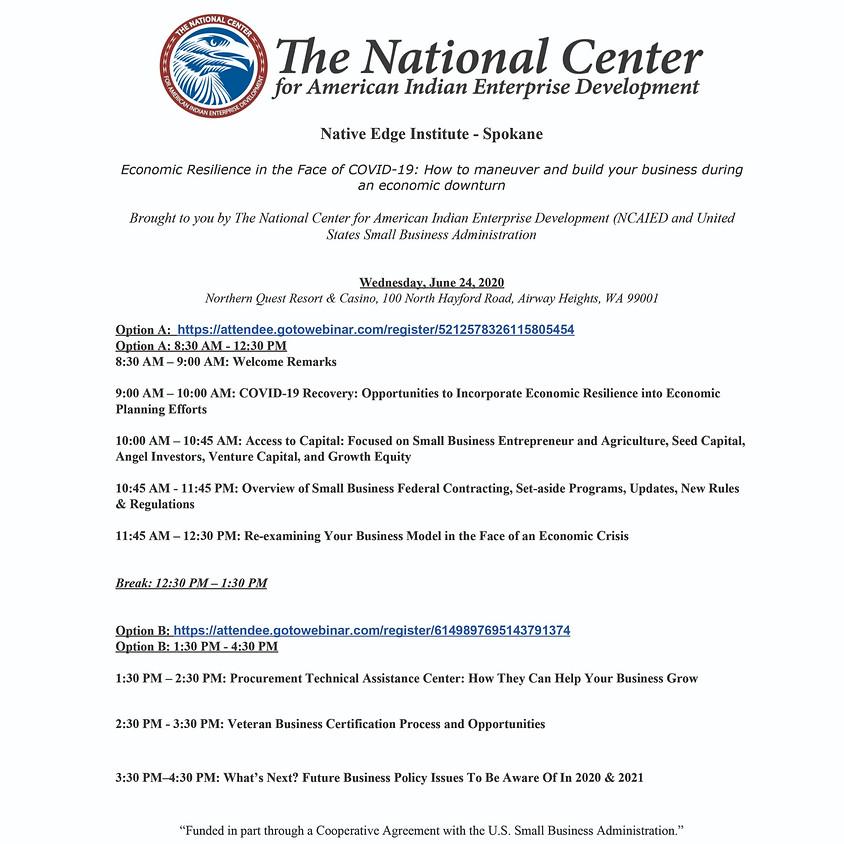 Native Edge Institute - Spokane Option B ( 1:30am - 4:30 pm PST)