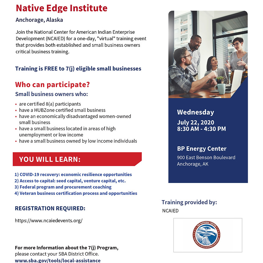 Native Edge Institute - Anchorage 8:30 AM- 12:00 PM Alaska  (Option A)