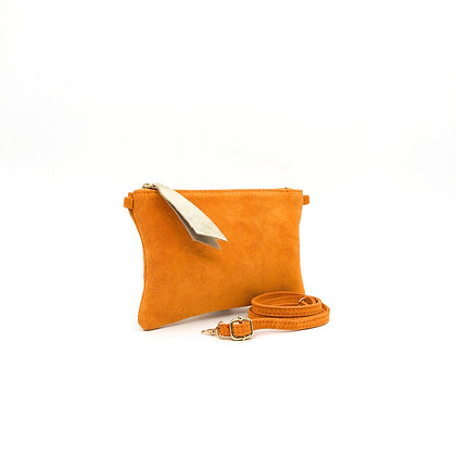 Pochette daim velours orange PM