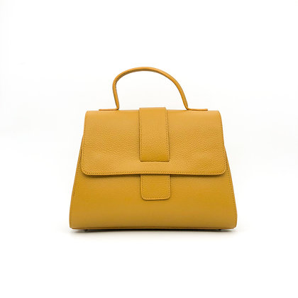 Sac cuir grainé jaune moutarde GM