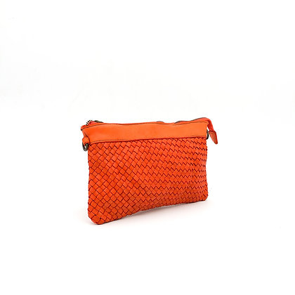 Pochette cuir tressé orange