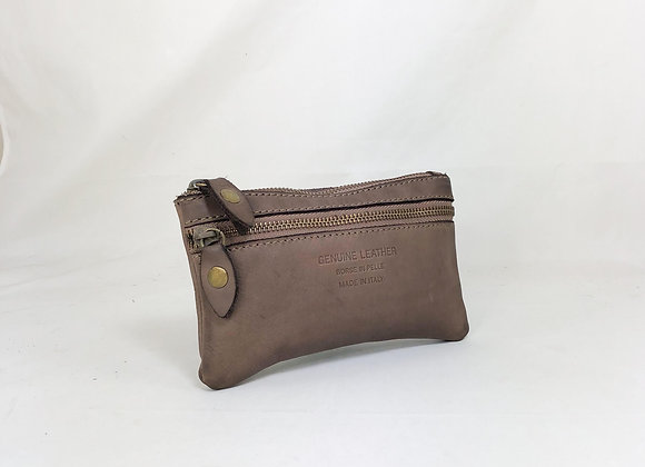 Pochette cuir vintage taupe