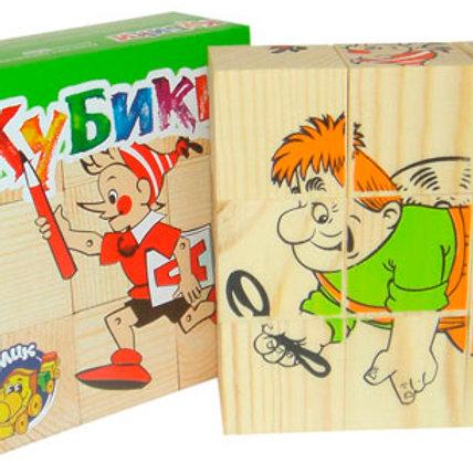 62-009 КУБИКИ ГЕРОИ СКАЗОК ДЕРЕВО 9шт (Томск)