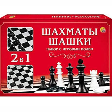 03-323 ШАХМАТЫ. ШАШКИ в средней коробке с полями (РК)