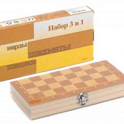 11-746 Игра 3 в 1 Шашки. шахматы. нарды с деревяным игровы