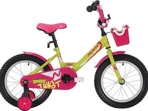 17-120-1 Велосипед 12 Novatrack TWIST ЗЕЛЕНЫЙ С КОРЗИНОЙ