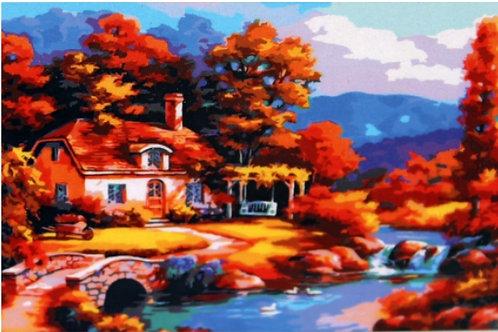03-688-903 Холст с красками 30х40см. Влюбленные в парке