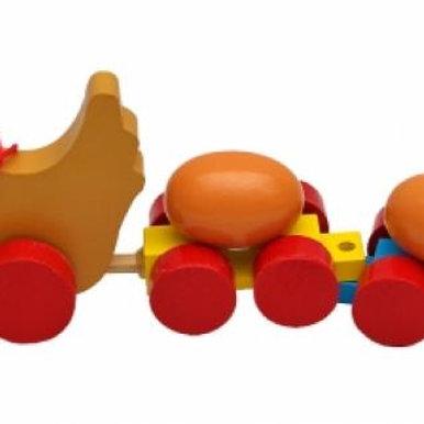 03-773-7 Деревянная игрушка-каталка . Паравозик. Веселые(РК)