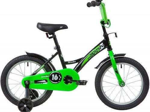 17-119-2 Велосипед 16 Novatrack STRIKE ЧЕРНЫЙ/ЗЕЛЕНЫЙ WTG20