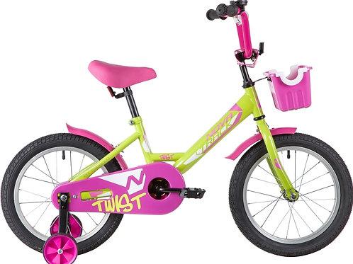 17-119-6 Велосипед 16 Novatrack TWIST ЗЕЛЕНЫЙ С КОРЗИНОЙ