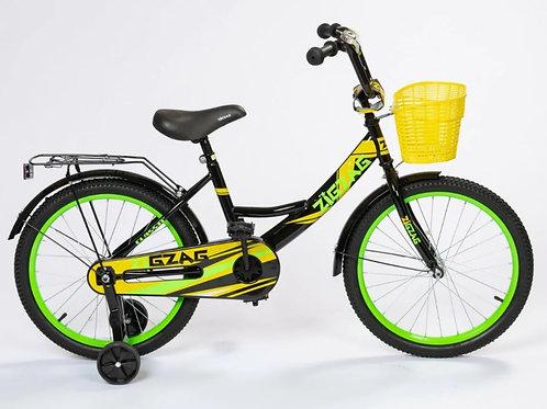 17-120-8 Велосипед 14 ZIGZAG CLASSIC Черный/желтый/зеленый