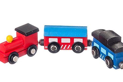 03-773-2 Деревянная игрушка. Поезд Красный магнитный. (РК)