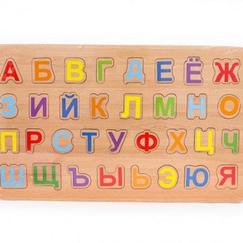 03-782-51 Деревянная Пазл-рамка УЧИМ АЛФАВИТ