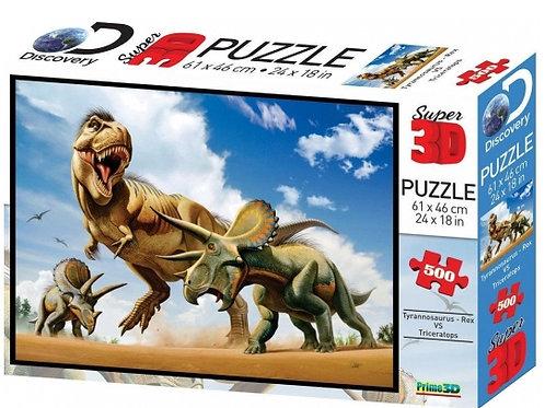 10-288-7 Пазл Super 3D Тираннозавр против трицератопса. 500
