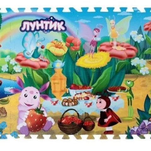 14-880-23 КОВРИК-ПАЗЛ ИГРАЕМ ВМЕСТЕ лунтик 8 сегментов