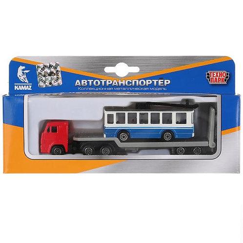 14-421-524 Машины металл Камаз перевозчик 15.5см с троллейбу