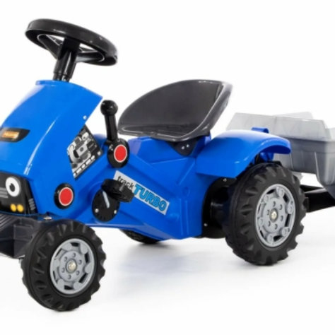16-154-5 Каталка-трактор с педалями Turbo-2(синяя)с полуп.