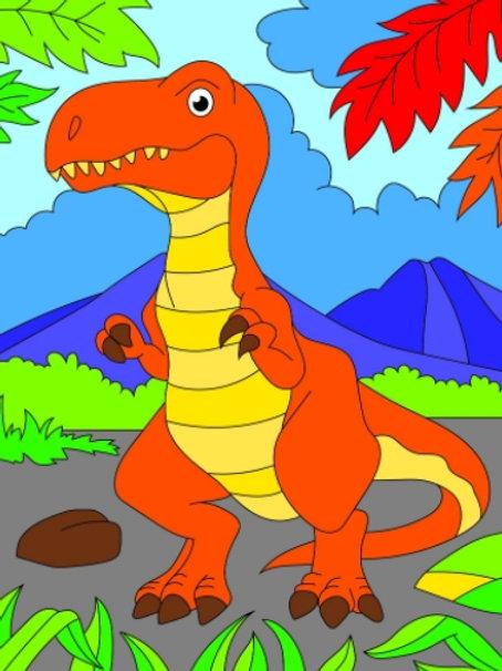 03-678-54 Холст С КРАСКАМИ 18х24 см. Добрый динозавр (РК)