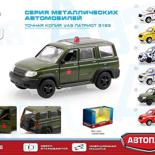 10-628-77 Машинка.мет.УАЗ ПАТРИОТ 3163 Военный PLAY SMART