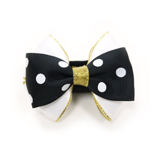 black, white and gold dog bows