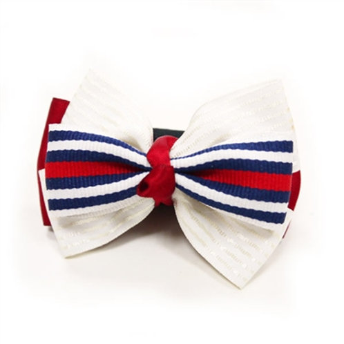 red, white and blue dog bows