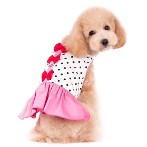 pink easy-d dog dress with bows