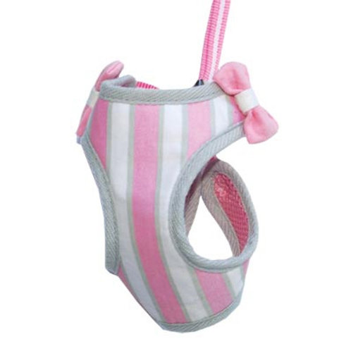 pink dog harness with bows