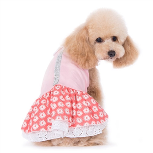 flower dog dress with rhinestones