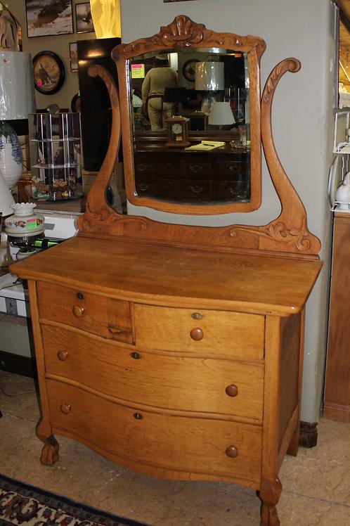 Antique Oak Dresser W/ Tilt Mirror
