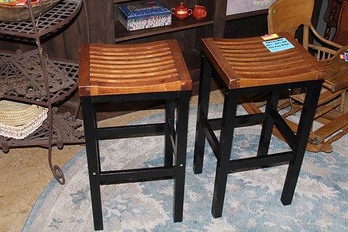 Pair Wood Carved Slatted Seat Bar Stools