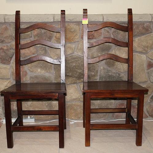 Pair Vintage Ladder Back Wood Seat Chairs